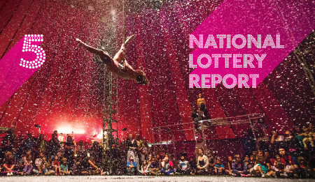 A trapeze artiste, watched by a circus crowd. Large pink type is overlayed on the image, it reads 'National Lottery Report'.