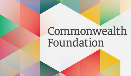 Brightly coloured pattern, surrounding the words - Commonwealth Foundation