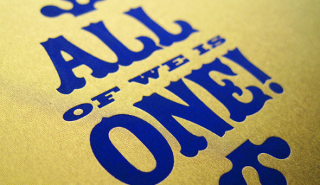 Close up of lettering - All of we is one