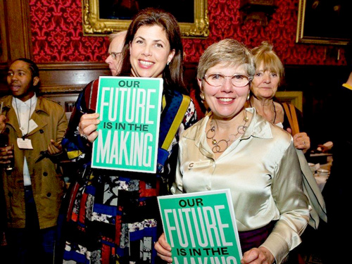 Broadcaster Kirstie Allsopp with  Crafts CouncilExecutive Director Rosy Greenlees. photo: Sophie Mutevelian