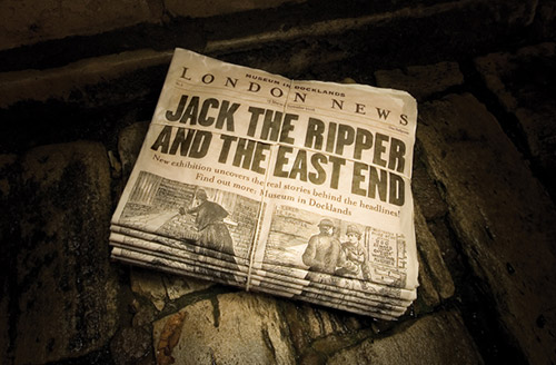 Jack the Ripper and the East End - stack of newspapers on a wet, stone floor