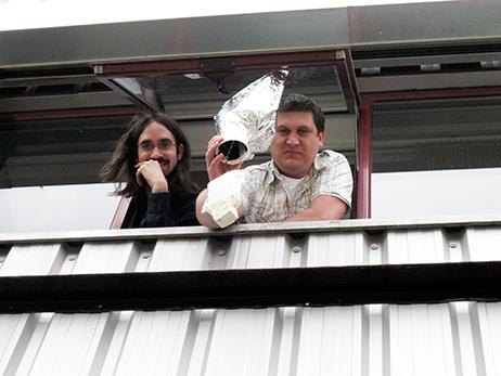 Team Jack Armley and Simon Leadbetter prepare to drop their egg