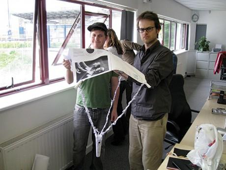 Team Chris Davies and Ocky Murray prepare to drop their egg