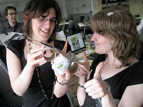 Team Caroline Hunt and Sarah Trentham prepare to drop their egg