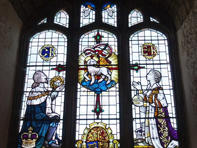 The not overly ancient stained-glass window in Farningham Village church.