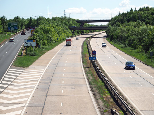 Swanley roundabout, with the M25 crossing the M20.