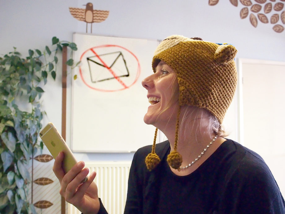 Email evangelist, Sam Scott Wood, in her MailChimp hat.
