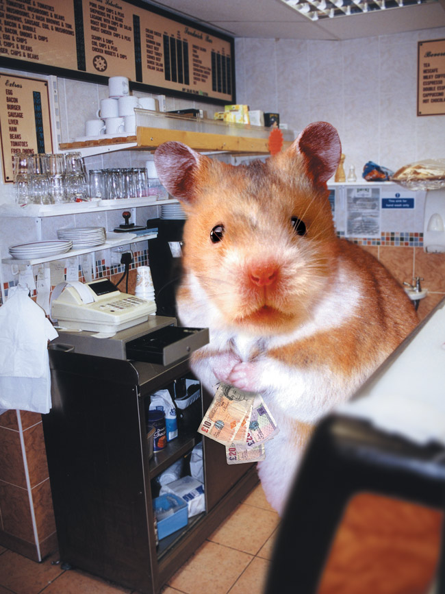Our giant hamster rifling the till of the Selector Cafe on Deptford High Street.