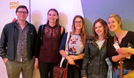 The team eagerly awaiting to enter the upstairs space at Soho Theatre