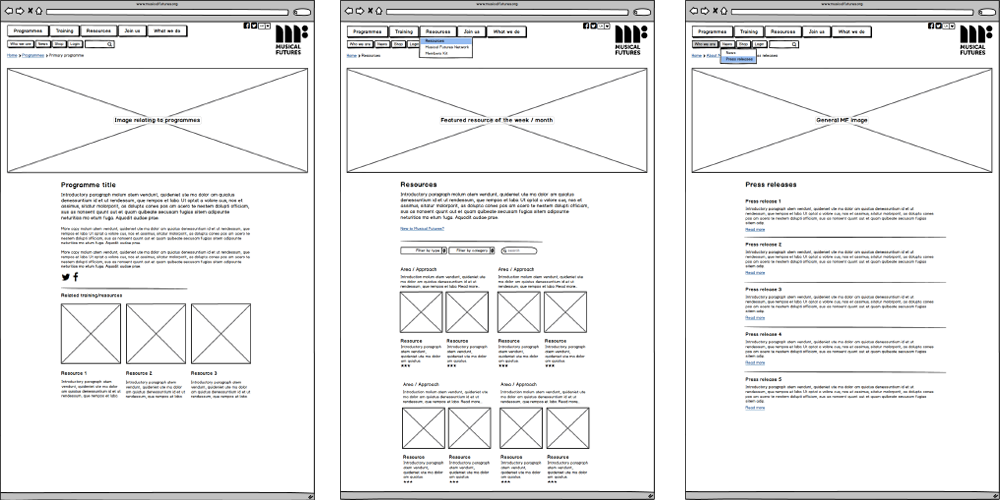 Wireframes for Musical Futures