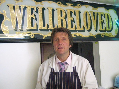W. W. Wellbeloved, in his shop, representing generations of one of London's oldest butchering families.