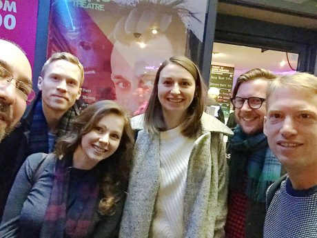 The Cog team outside Soho Theatre (with Richard Gadd's monkey image on their shoulders).