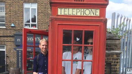 Team one, squeezed into a red phone box, for 20 points.