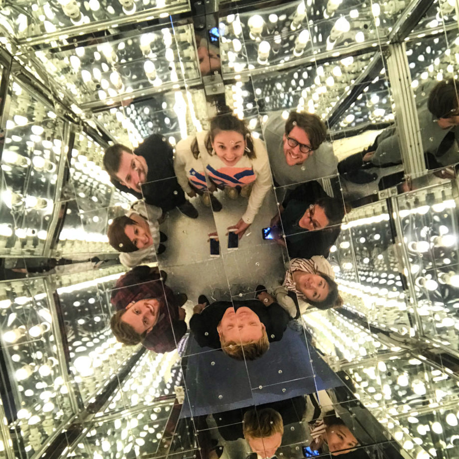 A team selfie at the centre of the most popular installation - Via Negative II