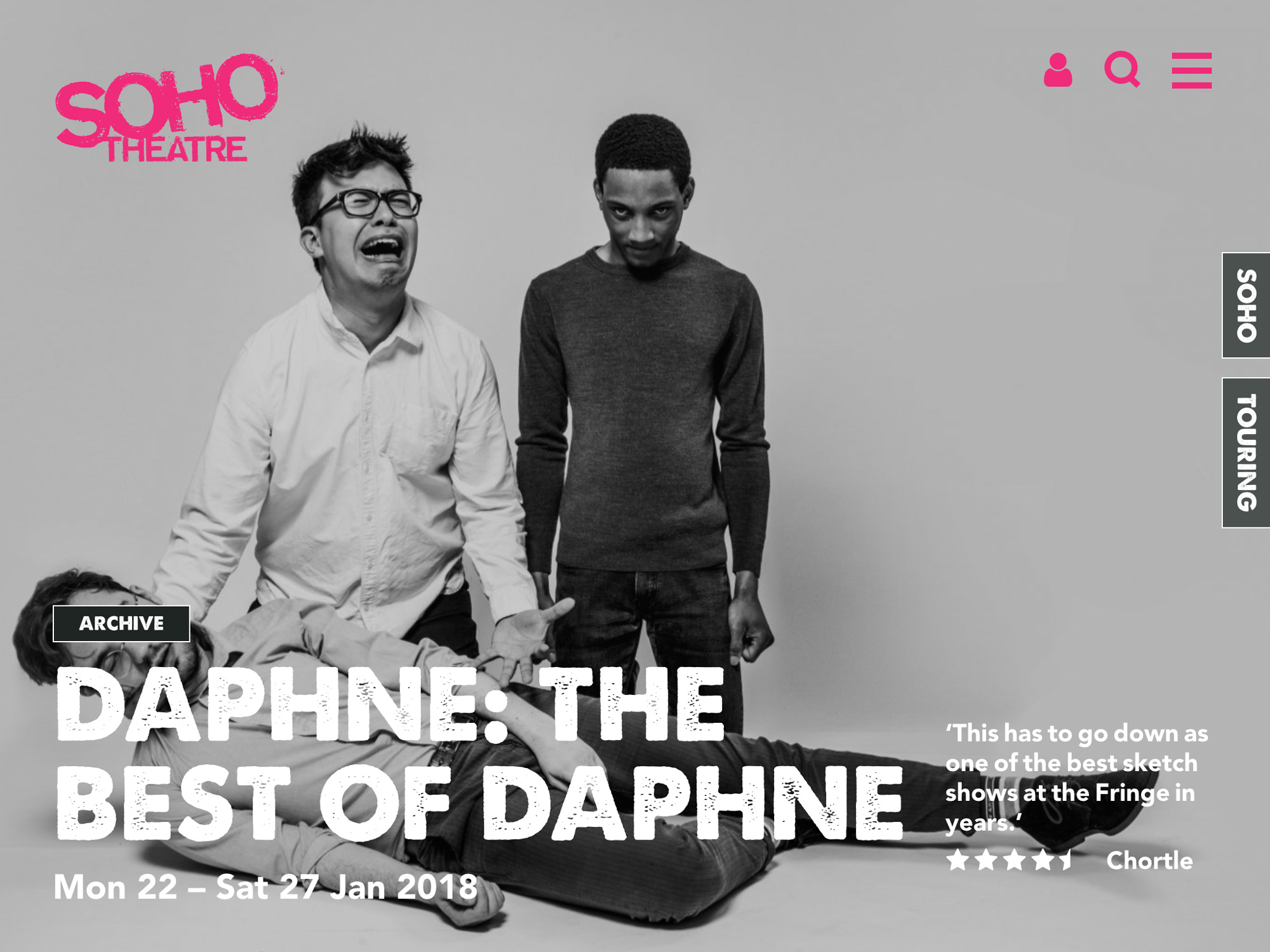 Website page of Soho Theatre, showing the event details for Daphne: The Best of Daphne, with the black and white image of three men in the backgound