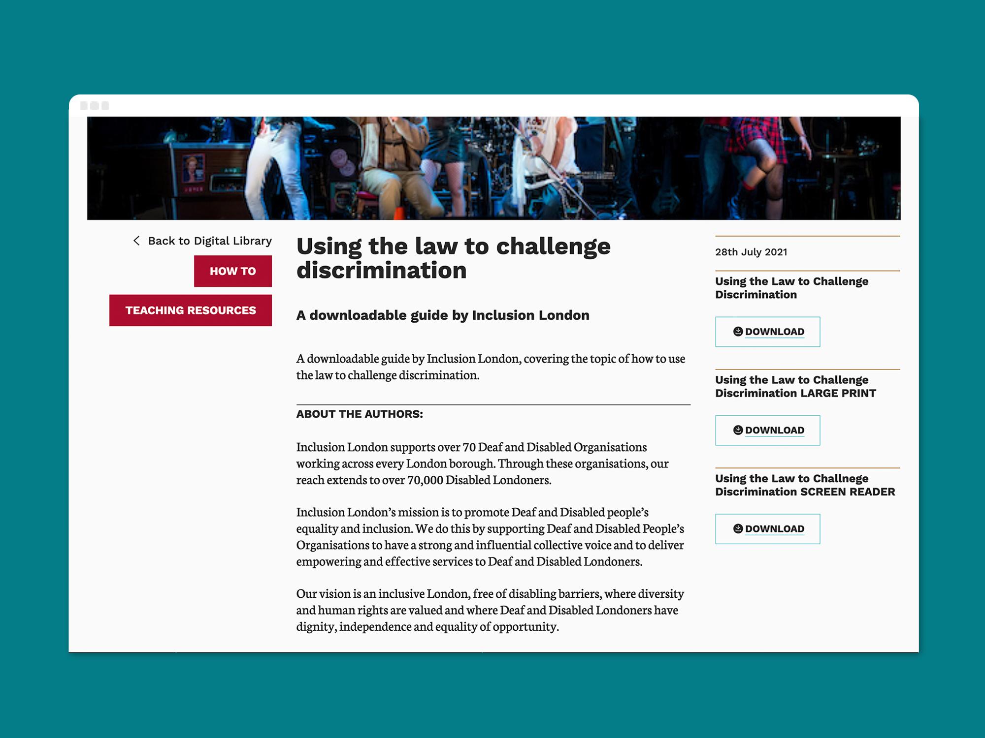 A desktop screen shot of Graeae's 'challenging discrimination' resource page on a desktop