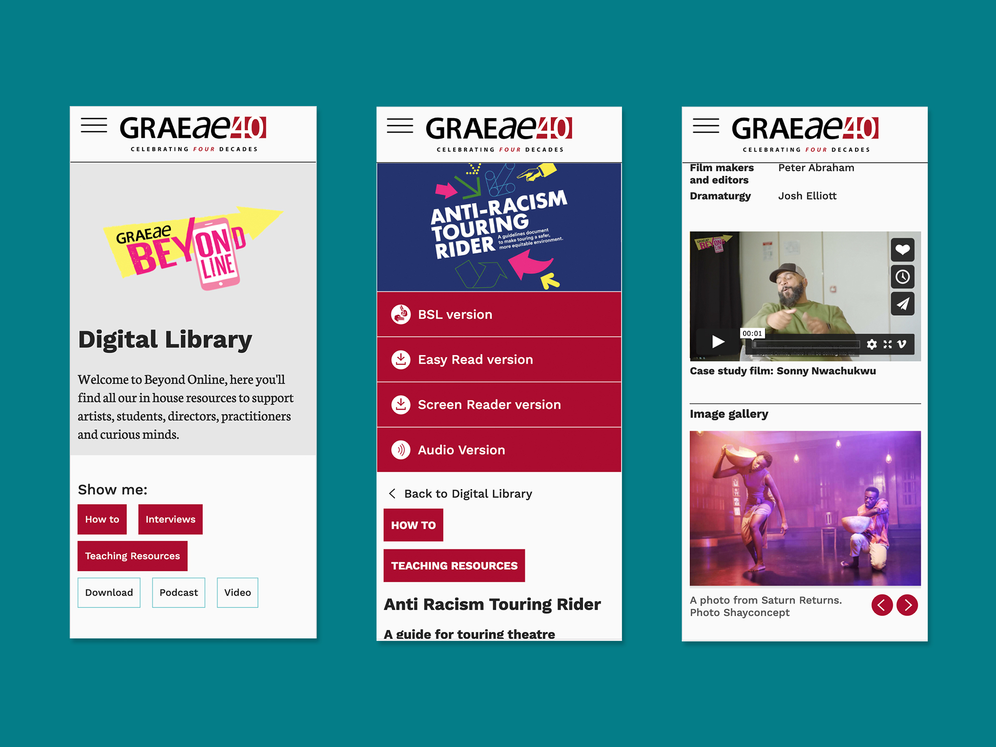 Three screenshots which display the Graeae Digital Library on a mobile display.