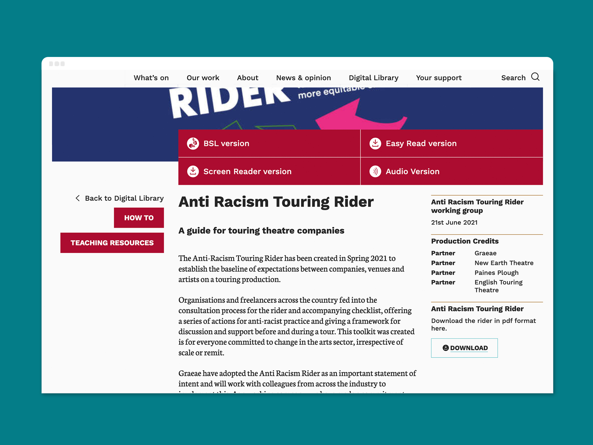A screen shot of Graeae's 'Anti Racism Touring Rider' resource page on a desktop